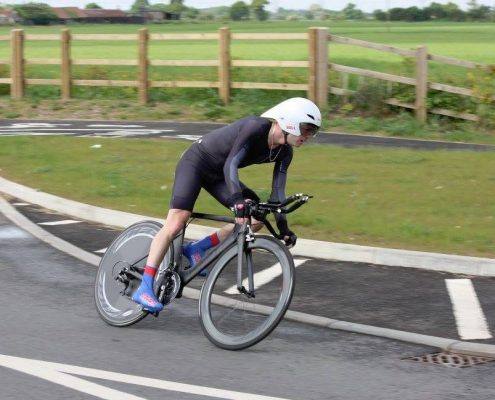 Mark (Titch) lays the bike over in the GYCC 25 (photo by Dominic Austrin)