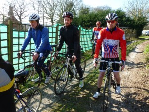 Titch Richards on the right, as the club run leaves the Dunwich cafe